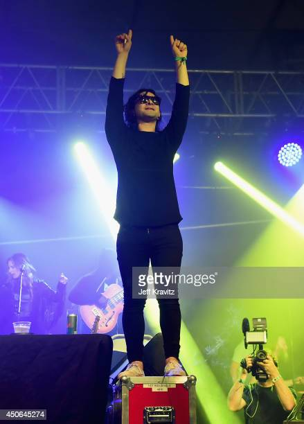 Skrillex performs during the Superjam onstage at The Other Tent during day 3 of the 2014 Bonnaroo Arts And Music Festival on June 14 2014 in...