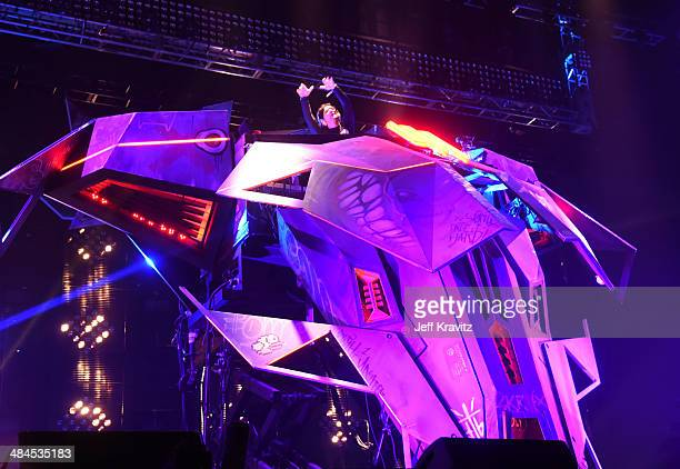 Skrillex performs onstage during day 2 of the 2014 Coachella Valley Music Arts Festival at the Empire Polo Club on April 12 2014 in Indio California