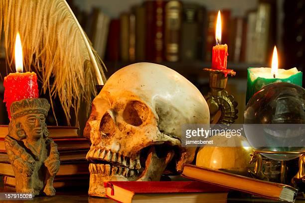Schädel und Kerzen Magic Schreibtisch