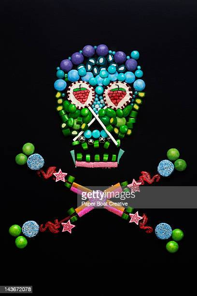 skull and cross bones made out of sweets & candy