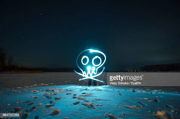 Skull And Crossbones Sign Illuminated