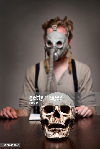 Skull and Gas Mask Man : Stock Photo