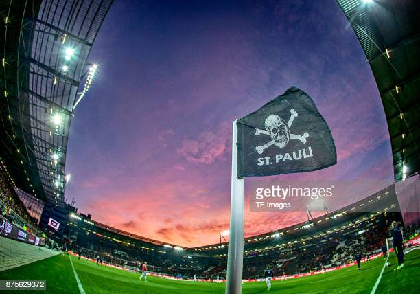 Skull flag of St Pauli is seen during the Second Bundesliga match between FC St Pauli and FC Erzgebirge Aue at Millerntor Stadium on October 27 2017...
