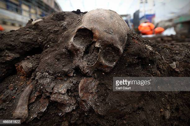 A skull is uncovered at the Bedlam burial ground where it is believed over 20000 Londoners were buried between 1569 and 1738 on March 17 2015 in...