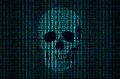 Human skull getting out of the binary code.