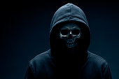 Hooded person with skull instead of face