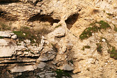 Skull rock, possibly Golgotha, where Jesus Christ was crucified in Jerusalem, Israel