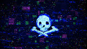 Skull shape with grain and glitching noise. Internet piracy and online security concept