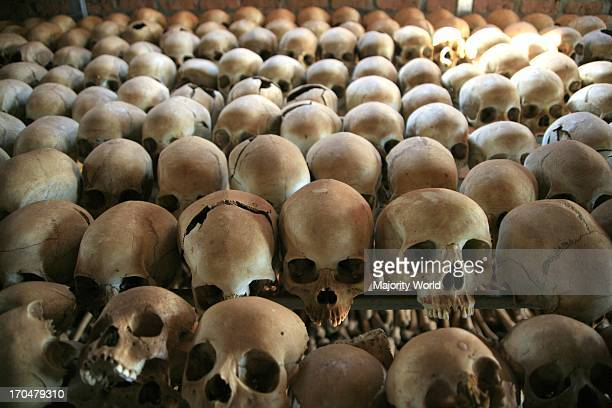 skulls at a genocide memorial church in Rwanda commemorating the genocide in 1994 where almost one million Rwandans were murdered Rwanda