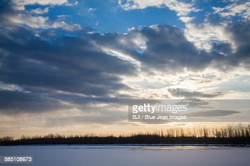 Sky and snow-covered landscape