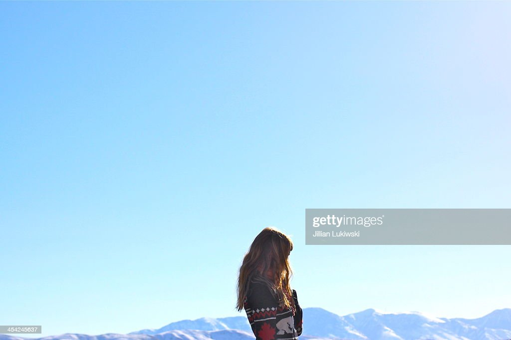 Sky and woman : Stock Photo