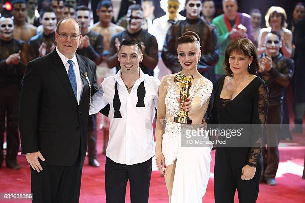Sky Angels receive the Gold Clown from Prince Albert II of Monaco and Princess Stephanie Monaco during the awards ceremony of the 41st MonteCarlo...