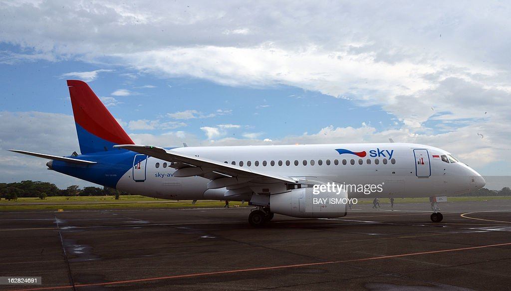 A Sky aviation's new aircraft the Sukhoi Superjet 100 arrives at the launching ceremony at Halim airport in Jakarta on February 28 2013 Indonesia has...