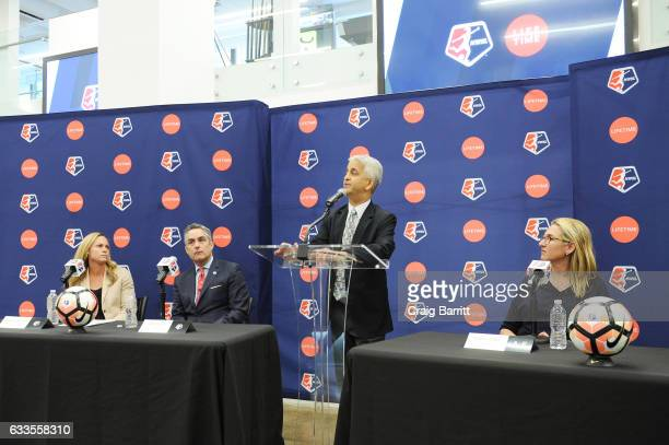 Sky Blue FC defender Christie Rampone NWSL Commissioner Jeff Plush US Soccer President Sunil Gulati and CEO of AE Networks Nancy Dubuc attend the...