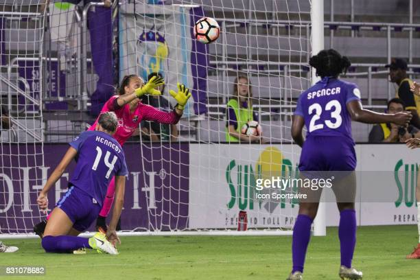 Sky Blue FC goalkeeper Kailen Sheridan blocks a shot on goal during the NWSL soccer match between the Orlando Pride and Sky Blue FC on August 12 2017...