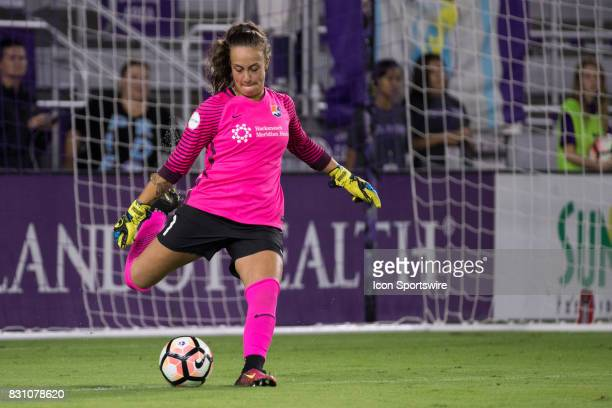 Sky Blue FC goalkeeper Kailen Sheridan kicks the ball during the NWSL soccer match between the Orlando Pride and Sky Blue FC on August 12 2017 at...