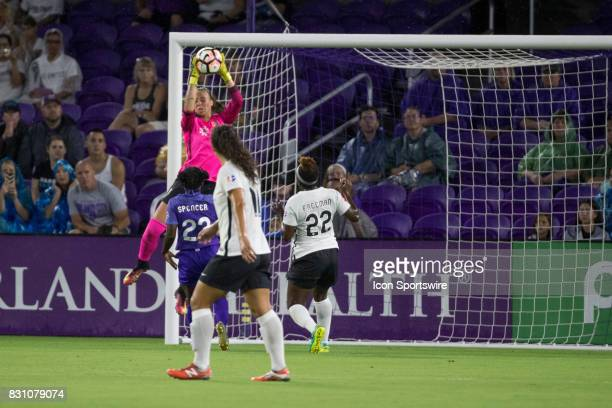 Sky Blue FC goalkeeper Kailen Sheridan saves a shot on goal during the NWSL soccer match between the Orlando Pride and Sky Blue FC on August 12 2017...