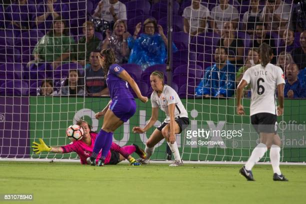 Sky Blue FC goalkeeper Kailen Sheridan saves a shot on goal from Orlando Pride forward Alex Morgan during the NWSL soccer match between the Orlando...