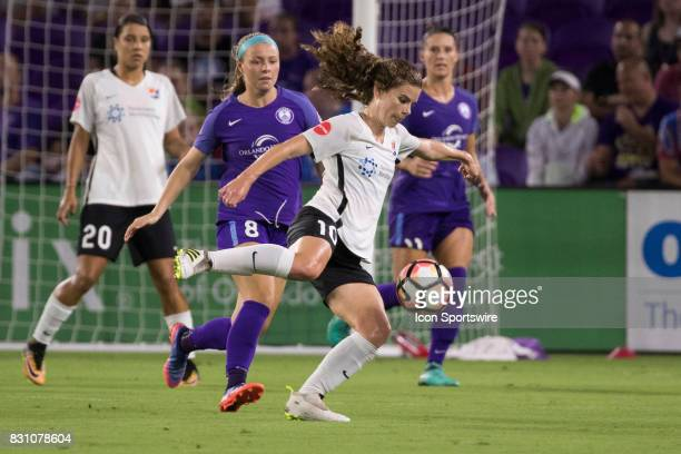 Sky Blue FC midfielder Daphne Corboz kicks the ball during the NWSL soccer match between the Orlando Pride and Sky Blue FC on August 12 2017 at...