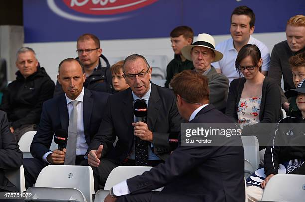 Sky commentator David Lloyd and Nasser Hussain speak to Ian Ward during day two of the 2nd Investec test match between England and New Zealand at...