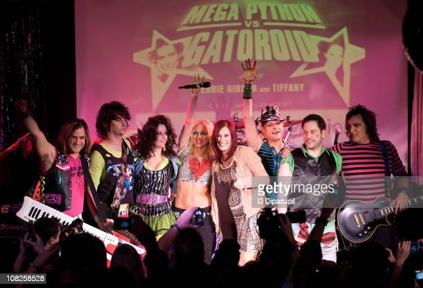 Sky Drew Mortali Cheri Martorana Debbie Gibson Tiffany Scott Lovelady John LaSpina and Paul Armento perform during the Back to the Eighties show at...