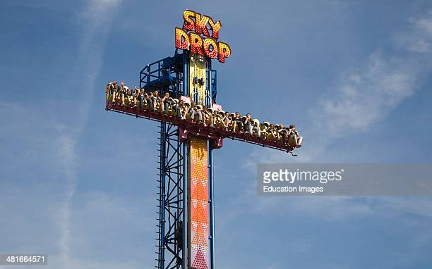 Sky Drop free fall gravity funfair ride Pleasure Beach Great Yarmouth Norfolk England
