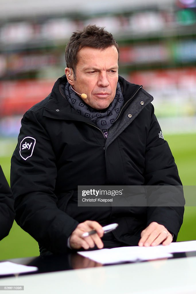 Sky expert <a gi-track='captionPersonalityLinkClicked' href=/galleries/search?phrase=Lothar+Matthaeus&family=editorial&specificpeople=217345 ng-click='$event.stopPropagation()'>Lothar Matthaeus</a> is seen prior to the Bundesliga match between Bayer Leverkusen and Hertha BSC Berlin at BayArena on April 30, 2016 in Leverkusen, Germany. The match between Leverkusen and Berlin ended 2-1.