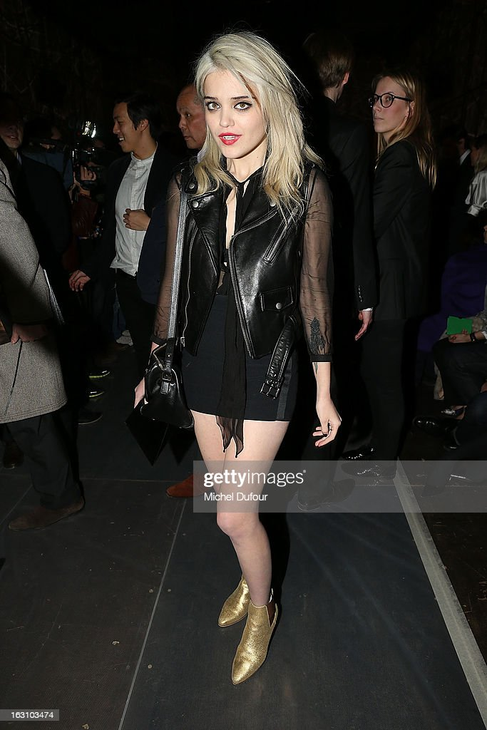 <a gi-track='captionPersonalityLinkClicked' href=/galleries/search?phrase=Sky+Ferreira&family=editorial&specificpeople=6740166 ng-click='$event.stopPropagation()'>Sky Ferreira</a> attends the Saint Laurent Fall/Winter 2013 Ready-to-Wear show as part of Paris Fashion Week on March 4, 2013 in Paris, France.