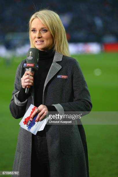 Sky fiel reporter Britta Hofmann talks prior to the UEFA Europa League quarter final second leg match between FC Schalke 04 and Ajax Amsterdam at...
