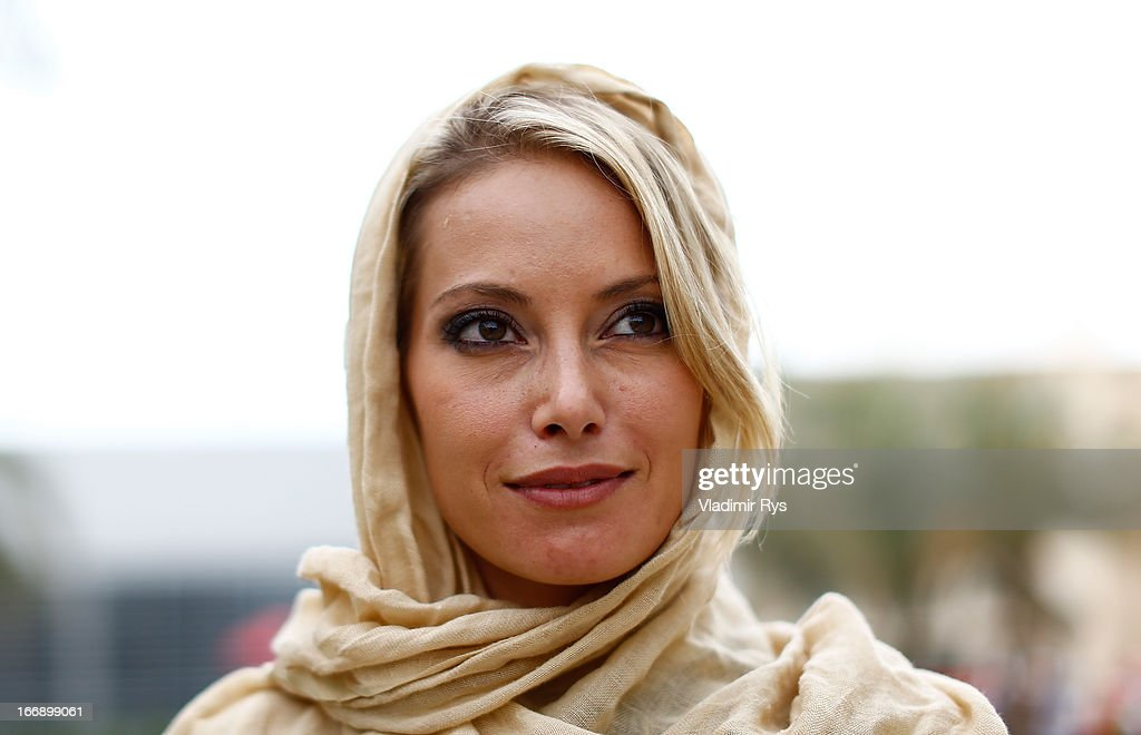 Sky Italia TV presenter Sarah Winkhaus is pictured in the paddock looks on in the paddock during previews for the Bahrain Formula One Grand Prix at the Bahrain International Circuit on April 18, 2013 in Sakhir, Bahrain.