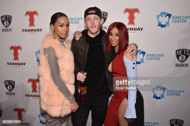 Sky Landish DJ Drewski and Cardi B attend the Tanduay Rum partnership with Barclays Center and the Brooklyn Nets celebration on March 12 2017 in New...