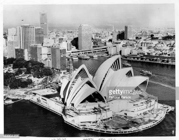 A sky line in of buildings and skyscrapers including the Opera House in Sydney Australia 1955