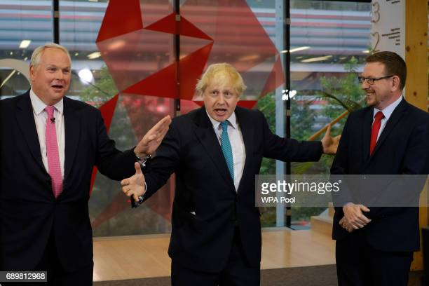 Sky News editor at large Adam Boulton interviews Foreign Secretary Boris Johnson and Labour MP Andrew Gwynne take part in a Sky News programme at Sky...