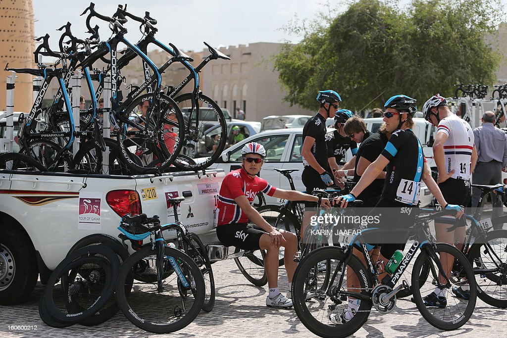 Sky Pro Cycling's team waits for the start of stage one of the 2013 Tour of Qatar from Katara Cultural Village in Doha to Dukhan Beach, west of the Qatari capital, on February 3, 2013.