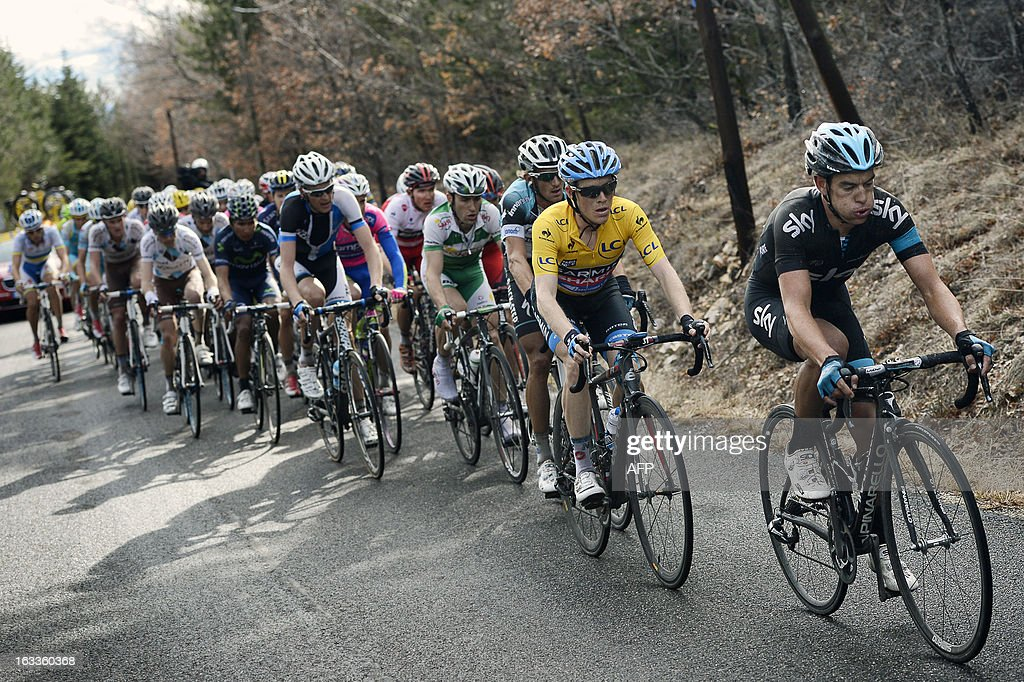Sky Procycling Team Australian cyclist Richie Porte (R) and Team Garmin-Sharp US cyclist Andrew Talansky (2nd R) compete during the last summit of the fifth stage of the 71st Paris-Nice cycling race between Chateauneuf du Pape and La Montagne de Lure, near Saint-Etienne-les-Orgues, on March 8, 2013. Porte won the stage and becomes the new wearer of the yellow jersey. AFP PHOTO / JEFF PACHOUD