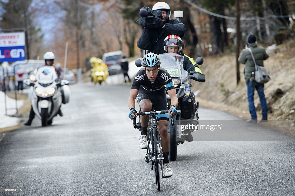 Sky Procycling Team Australian cyclist Richie Porte competes during the last summit of the fifth stage of the 71st Paris-Nice cycling race between Chateauneuf du Pape and La Montagne de Lure, near Saint-Etienne-les-Orgues, on March 8, 2013. AFP PHOTO / JEFF PACHOUD