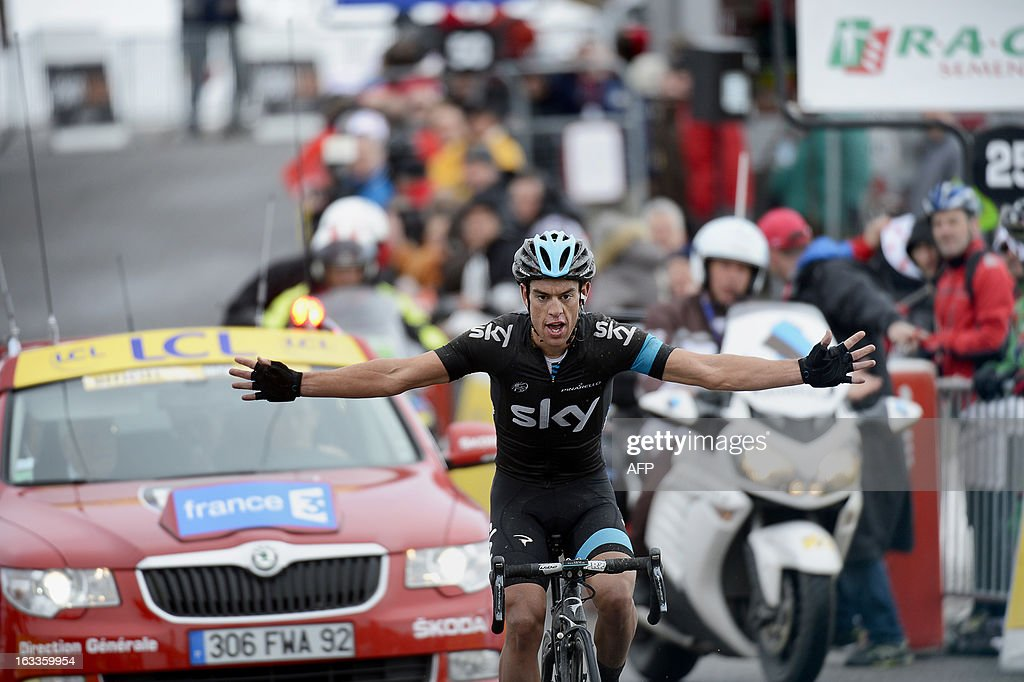 Sky Procycling Team Australian cyclist Richie Porte crosses the finish line and wins the fifth stage of the 71st Paris-Nice cycling race between Chateauneuf du Pape and La Montagne de Lure, on March 8, 2013.