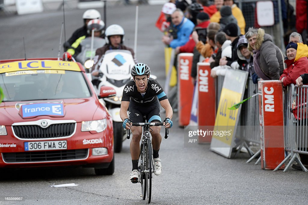 Sky Procycling Team Australian cyclist Richie Porte rides to win the fifth stage of the 71st Paris-Nice cycling race between Chateauneuf du Pape and La Montagne de Lure, on March 8, 2013.