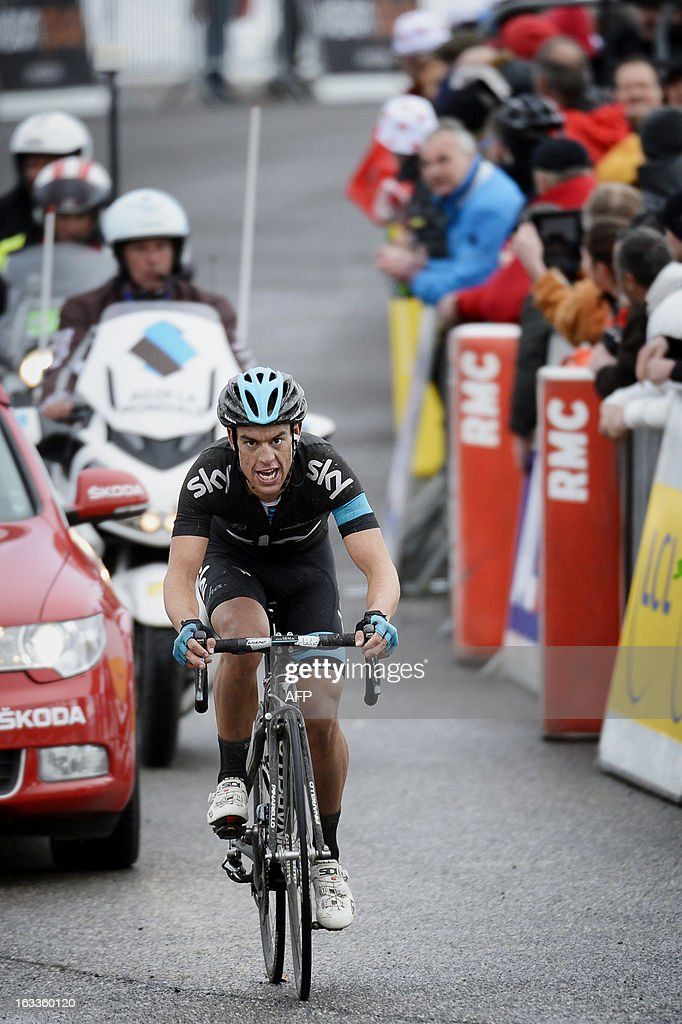 Sky Procycling Team Australian cyclist Richie Porte rides to win the fifth stage of the 71st Paris-Nice cycling race between Chateauneuf du Pape and La Montagne de Lure, on March 8, 2013. AFP PHOTO / JEFF PACHOUD