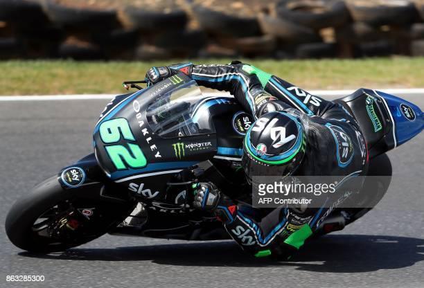 Sky Racing team VR46 Italian rider Stefano Manzi powers his machine during the Moto2 class first practice session of the Australian MotoGP Grand Prix...