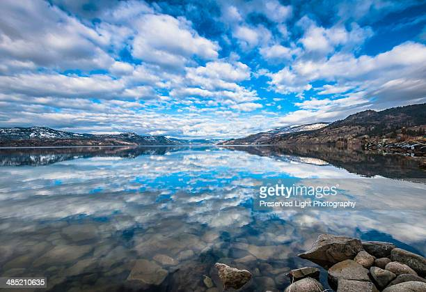 Sky reflected in Okanagan Lake, Naramata, British Columbia, Canada