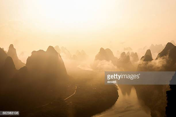 Sky, river and hills in Guilin during sunset