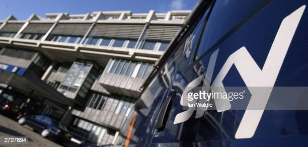 Sky satellite van waits outside the Queen Elizabeth II Conference Centre while the British Sky Broadcasting Group's Annual General Meeting take place...
