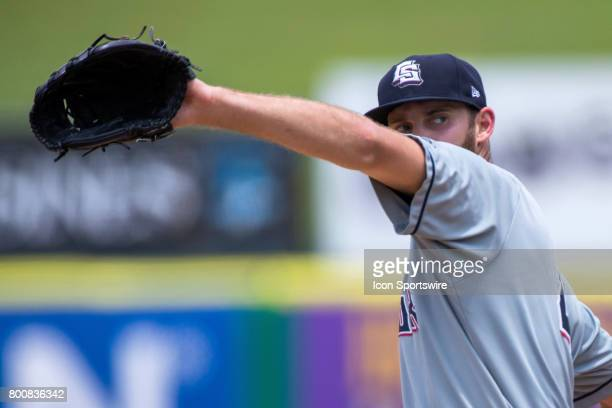 Sky Sox pitcher Taylor Jungmann delivers a pitch during the minor league game between the Colorado Springs Sky Sox and the New Orleans Baby Cakes on...