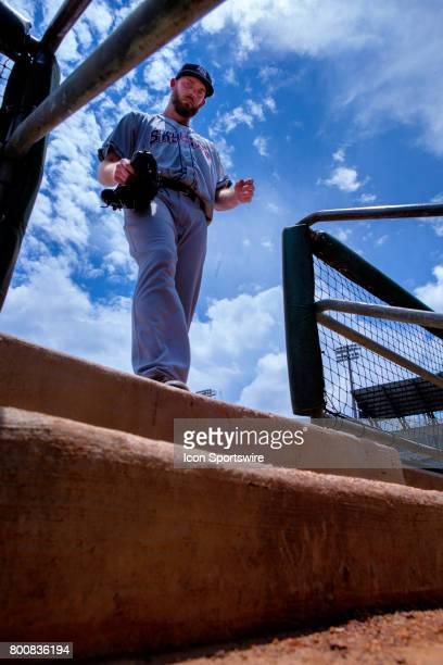 Sky Sox pitcher Taylor Jungmann walks to the dugout during the minor league game between the Colorado Springs Sky Sox and the New Orleans Baby Cakes...