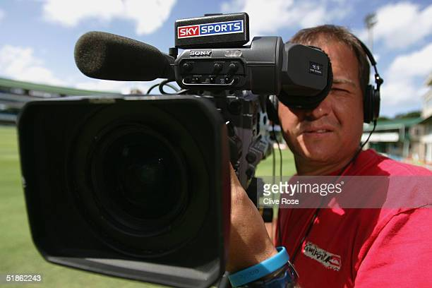 Sky Sports camrea man looks down the lens prior to the the 1st Test Match between South Africa and England at St Georges cricket ground on December...
