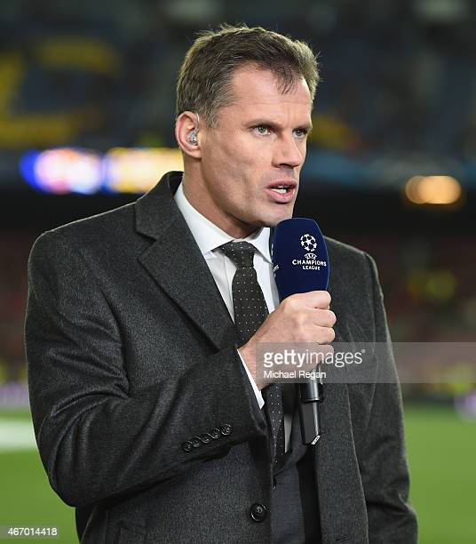 Sky Sports commentator Jamie Carragher looks on prior to the UEFA Champions League Round of 16 second leg match between Barcelona and Manchester City...
