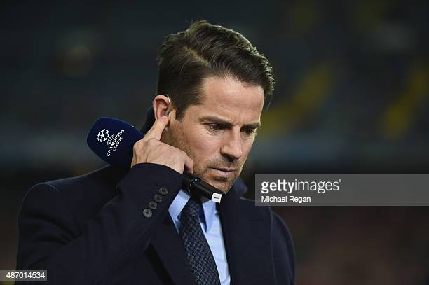 Sky Sports commentator Jamie Redknapp looks on prior to the UEFA Champions League Round of 16 second leg match between Barcelona and Manchester City...