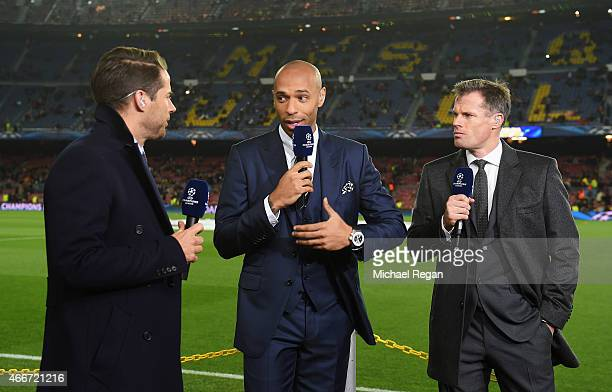 Sky Sports commentators Jamie Redknapp Thierry Henry and Jamie Carragher talk prior to the UEFA Champions League Round of 16 second leg match between...