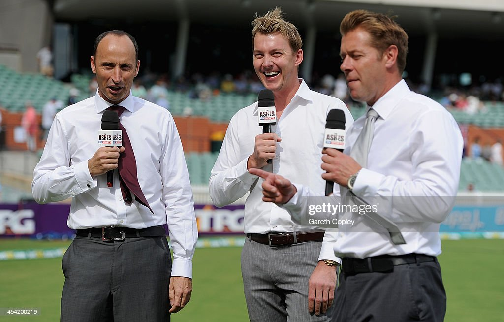 Sky Sports commentators <a gi-track='captionPersonalityLinkClicked' href=/galleries/search?phrase=Nasser+Hussain&family=editorial&specificpeople=171724 ng-click='$event.stopPropagation()'>Nasser Hussain</a>, <a gi-track='captionPersonalityLinkClicked' href=/galleries/search?phrase=Brett+Lee&family=editorial&specificpeople=169885 ng-click='$event.stopPropagation()'>Brett Lee</a> and Ian Ward during day four of the Second Ashes Test Match between Australia and England at Adelaide Oval on December 8, 2013 in Adelaide, Australia.